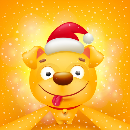 Yellow dog cartoon emoticon character making selfie. Illustration