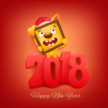 2018 new year invitation card with yellow dog cartoon character Vector illustration Illustration
