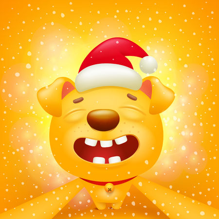 Yellow dog cartoon emoticon character making selfie. Vector illustration