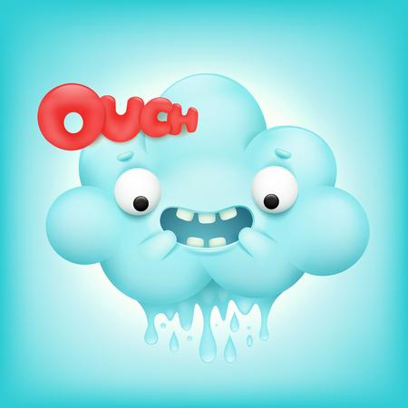 Cute cartoon emoticon cloud character. Vector illustration