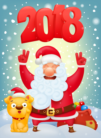 Santa Claus cartoon character with yellow dog.
