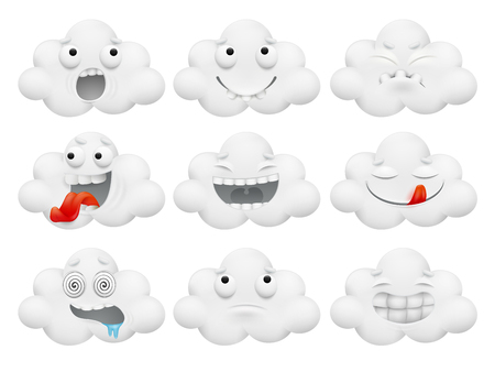 Set of cloud cartoon characters.