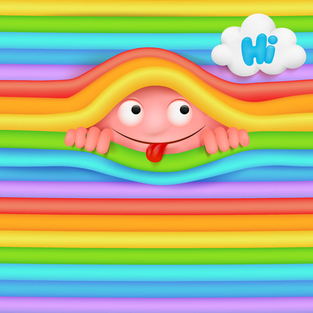Pink funny monster character looking out from rainbow wall.