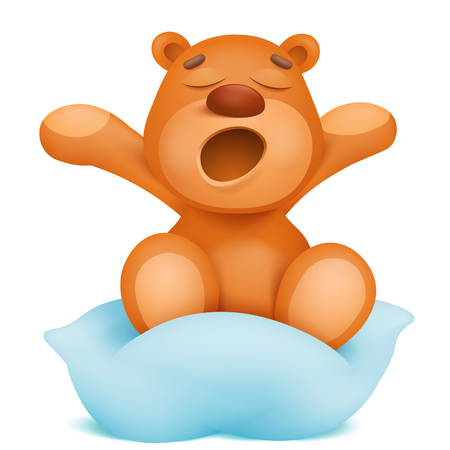 Yawning teddy bear cartoon character sitting on pillow. Vectores