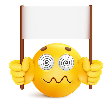 Yellow smile round face character with message banner template Vector illustration.