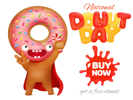 National donuts day holiday ad poster template vector illustration.