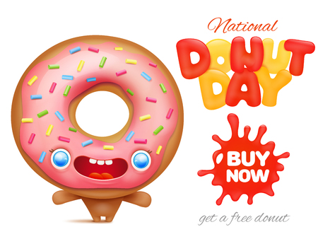 National Donut day holiday ad poster template vector illustration.