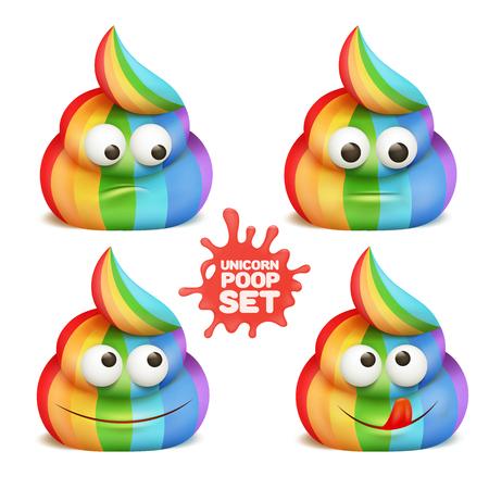 Unicorn poop emoji cartoon character stickers set. Vector illustration. Çizim