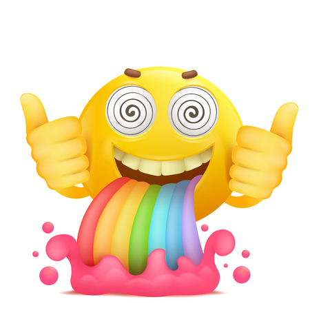 Cartoon yellow smiley face emoji character with rainbow vomiting. Vector illustration