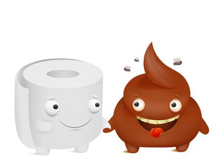 Toilet paper and poop cartoon emoji characters best friends. Vector illustration Ilustração