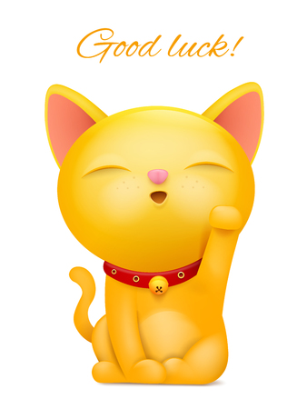 Maneki Neko cartoon emoticon yellow cat character. Vector illustration