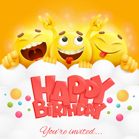 Smiley yellow faces emoji characters. Happy birthday card. realistic vector illustration