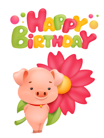 Happy Birthday Card Template With Pig Cartoon Character Vector