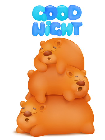 sleepy time three teddy bears cartoon characters card vector illustration