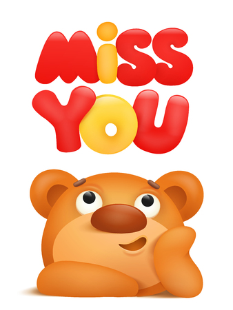 Miss you card with teddy bear cartoon character. Vector illustration