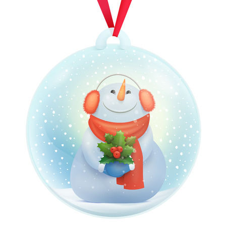 Glass snow ball decorative souvenir with snowman cartoon character inside Vector illustration