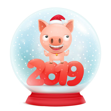 Glass snow ball decorative souvenir with pig cartoon character inside. Vector illustration 矢量图像