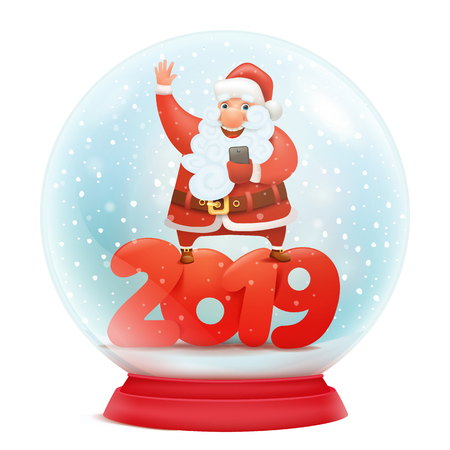 Snow globe with santa claus. New year 2019 invitation card template. Vector illustration