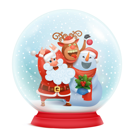 Snow globe with santa claus, snowman and reindeer. Christmas card concept. Vector illustration Çizim
