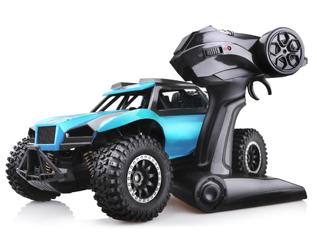 RC model rally car toy, offroad buggy with remote control. Isolated on white background 스톡 콘텐츠