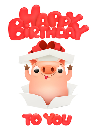 Happy birthday card with cute pig cartoon emoji character. Vector illustration Çizim