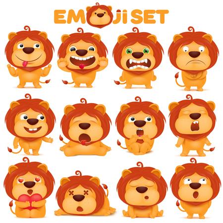 set of emoji lion cat cartoon character. vector illustration Иллюстрация