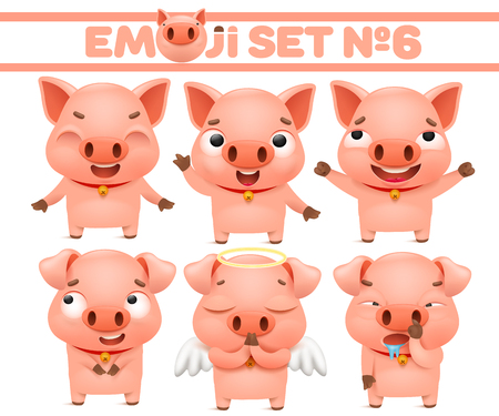 Set of cute pig cartoon emoticon characters in various emotions. Vector sticker illustration