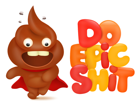 Do epic shit concept card with poo cartoon emoji character. Vector illustration