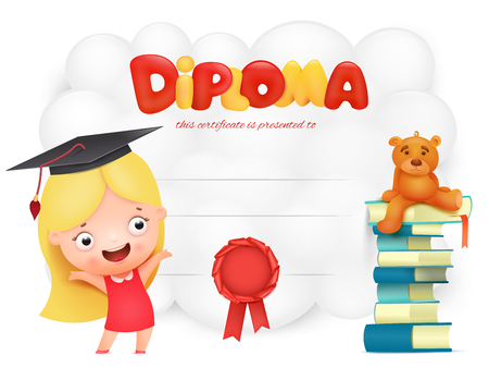 Preschool Kids Diploma with girl in pink dress cartoon character. Vector illustration Çizim