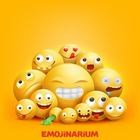 Smiley faces 3d group of emoji characters with funny facial expressions realistic vector illustration