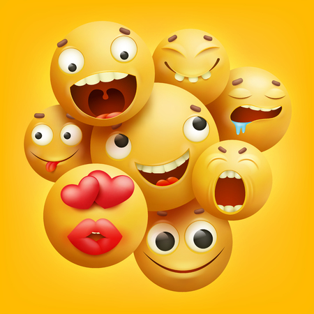 Group of yellow smiley cartoon emoji characters 3D vector illustration Çizim