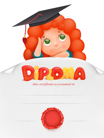 Diploma template for kids, certificate background with ginger girl cartoon character. Vector illustration. Çizim