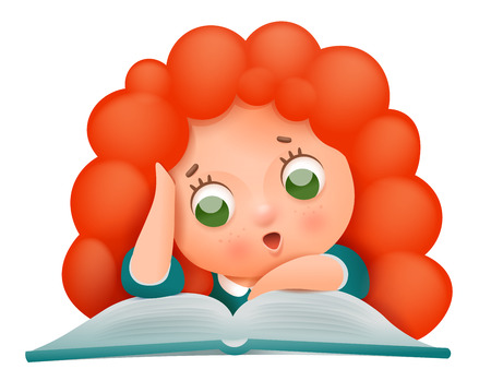 Cartoon cute ginger girl character reading book vector illustration