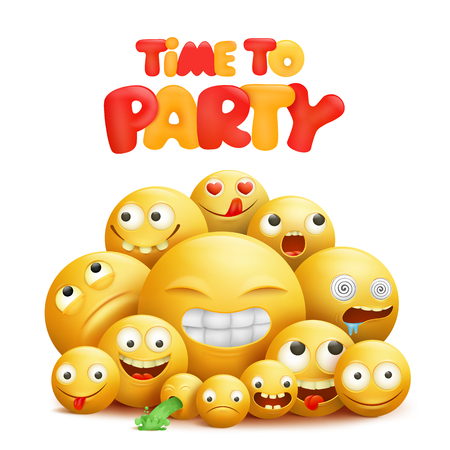 Time to party invitation card with group of yellow smile cartoon characters. Vector illustration