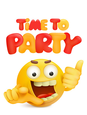 time to party invitation card with cartoon yellow smile face character. Vector illustration