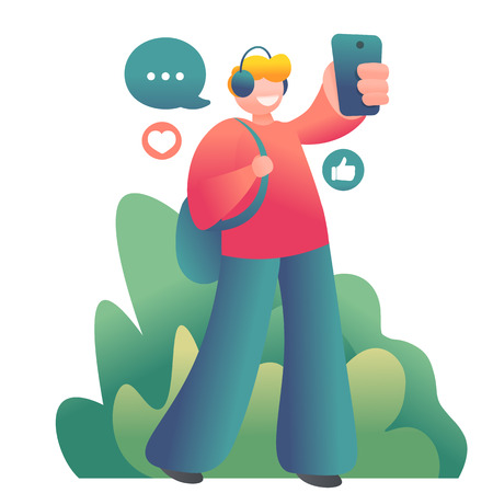 young guy walking on the street and making selfie on smartphone. Vector illustration