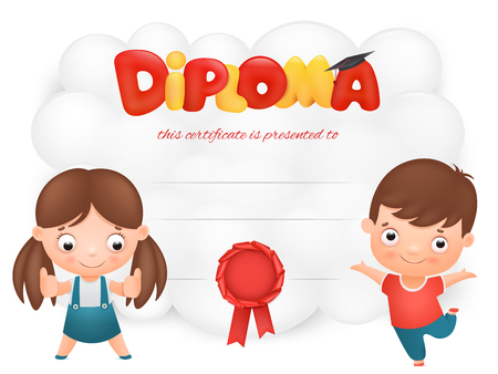 Diploma card template with boy and girl cartoon characters. Vector illustration Çizim