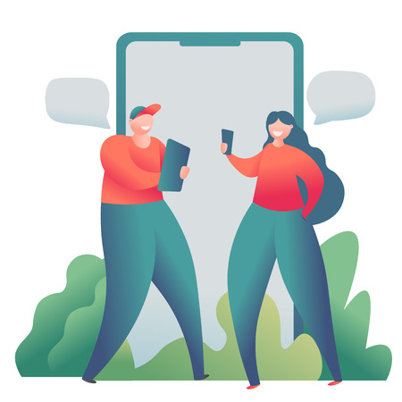 Online dating social network, virtual relationships concept. Male and female chatting online. Vector illustration