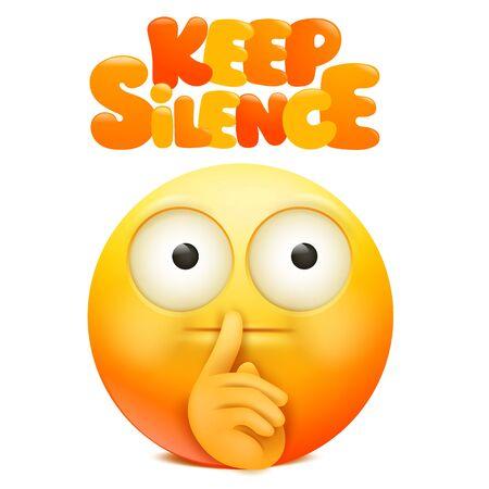 Geel emoji stripfiguur met vinger in de buurt van de mond. Houd stilte teken. vector illustratie Vector Illustratie