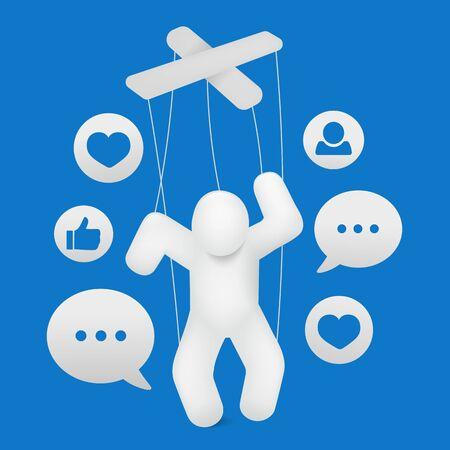 Tarjeta de concepto de adicción a internet de red de esclavitud de redes sociales. Ilustración vectorial Ilustración de vector