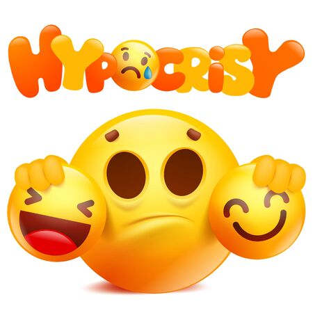 Cartoon emoji 3d yellow smile character hypocrisy. Social concept. Vector illustration Illustration