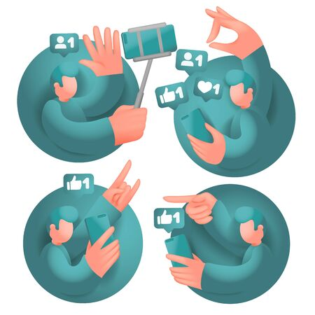 Set of icons with male cartoon 3d characters, having online communication with mobile phones in social network. Vector collection.