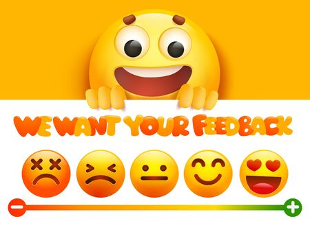 Feedback concept. Rank, level of satisfaction rating in form of yellow emoji cartoon characters. User experience. Review of consumer. Vector illustration