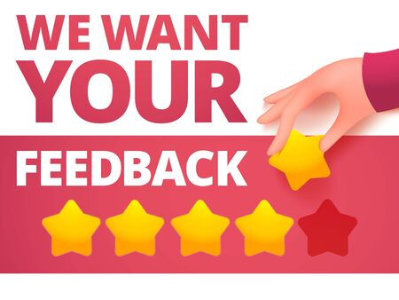 Human hand giving five star rating. Feedback voting concept card. Vector illustration