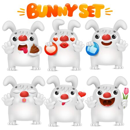 Cute white bunny cartoon emoji character in various emotions situations collection. Vector set