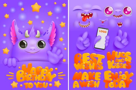 Birthday greeting card creation kit with purple monster cartoon character with various emotions. Vector bundle. Diy collection Ilustrace