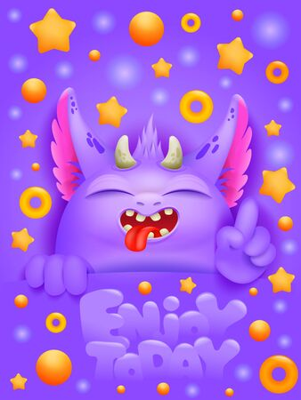 Birthday greeting card with cartoon emoji purple monster character. Vector illustration Ilustrace