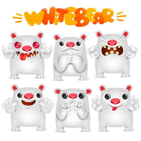 Cute polar bear cartoon emoticon character in various emotions collection
