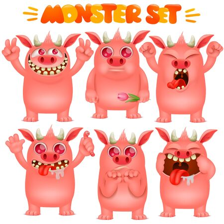 Monster cartoon emoji character in various emotions collection