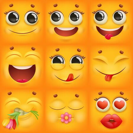 Yellow cartoon emoji characters square icons set in various emotions. Vector illustration